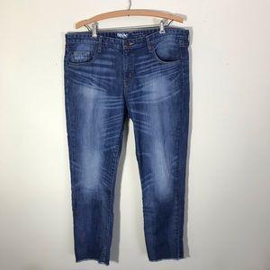 Mossimo Medium Wash Boyfriend Crop Raw Hem Jeans